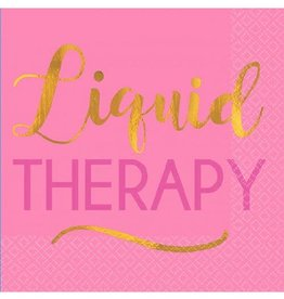 Pink Foil Stamped 'Liquid Therapy' Beverage Napkins 16CT