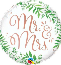 "Mr and Mrs 18"" Greenery Mylar"