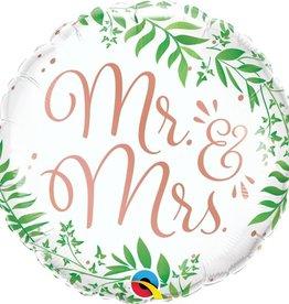 "Mr and Mrs 18"" Greenery Mylar"