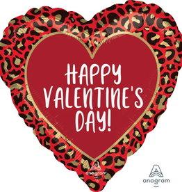 "'Happy Valentine's Day!' Animal Print 18"" Heart Shaped"