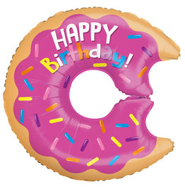 """Happy Birthday Large Donut With Bite Foil Balloon 28"""""""