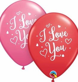 """I Love You"" Pink and Red 12"" Latex Singles"