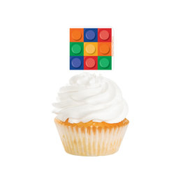 Lego Block Cupcake Toppers, 12ct