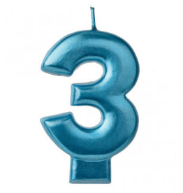 Metallic Blue Number 3 Candle