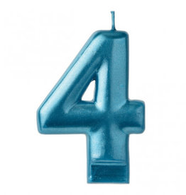 Metallic Blue Number 4 Candle