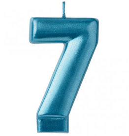 Metallic Blue Number 7 Candle