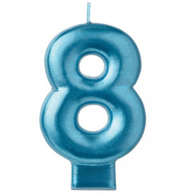 Metallic Blue Number 8 Candle