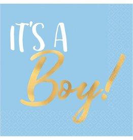 """""""It's A Boy!"""" Gold Stamped Beverage Napkin, 16ct"""