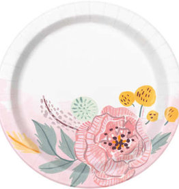 Painted Floral Dessert Plates 8ct, 7""