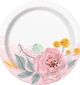"Painted Floral Dessert Plates 8ct, 7"""