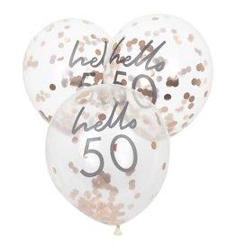 Hello 50 Rose Gold Confetti Balloons, 5pk