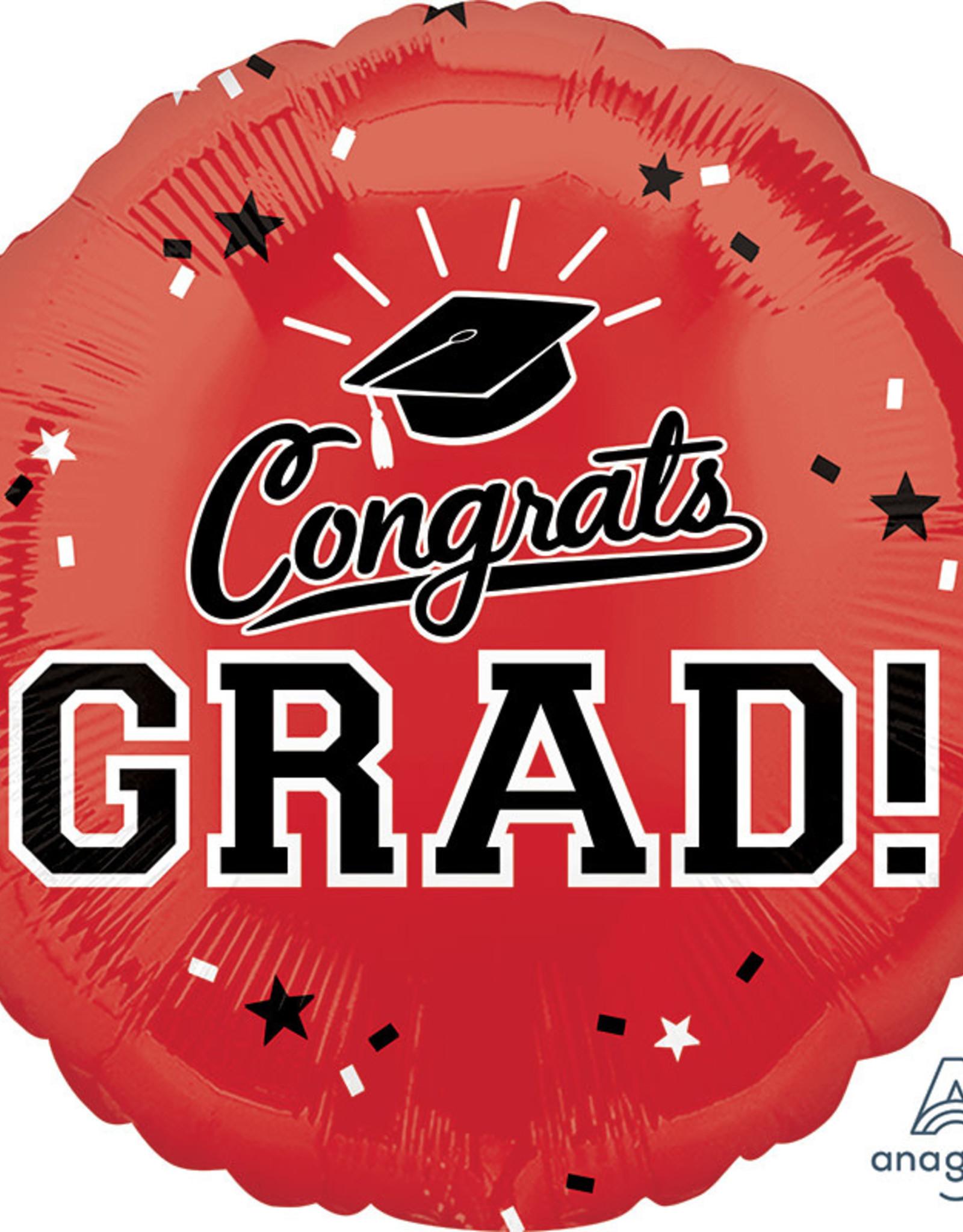 """18"""" Red """"Congrats Grad!"""" Mylar"""