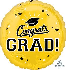 "18"" Yellow ""Congrats Grad!"" Mylar"
