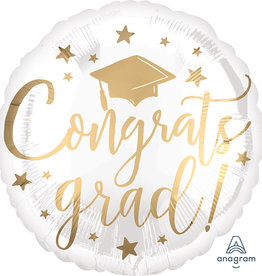"18"" White and Gold Script ""Congrats Grad!"" Mylar"
