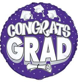 "18"" Purple ""Congrats Grad"" Mylar with Diploma"