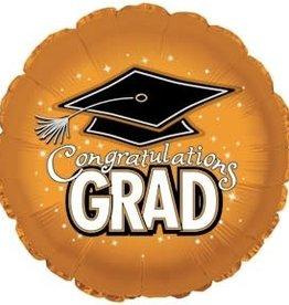 "18"" Orange ""Congratulations Grad"" Mylar"