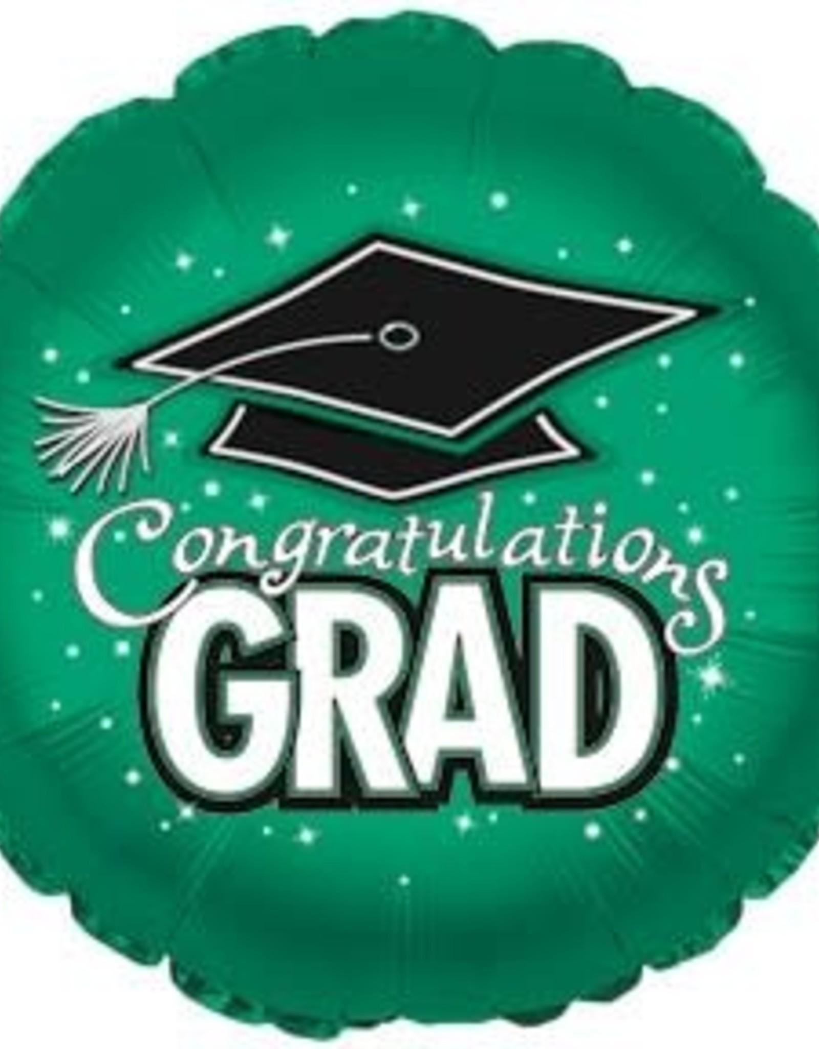 """18"""" Dark Green """"Congratulations Grad"""" Mylar"""
