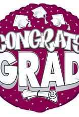 "18"" Burgundy ""Congrats Grad"" Mylar with Diploma"