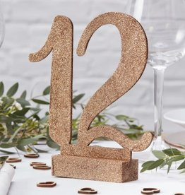 Wooden Table Numbers, Rose Gold 1-12