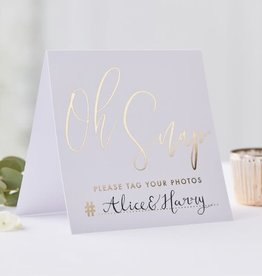 """Oh Snap!"" Hashtag Wedding Instagram Sign, 5ct"