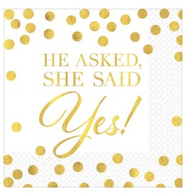 """He asked, She Said Yes!""  Beverage Napkins, 16ct"
