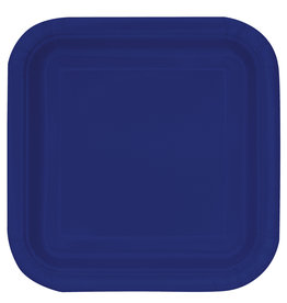 "True Navy Blue 7"" Square Plates, 16ct"