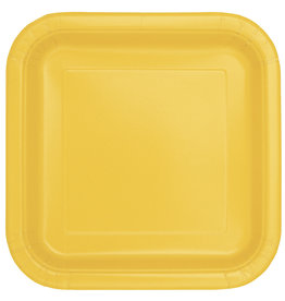 "Sunflower Yellow 7"" Square Plates, 16ct"