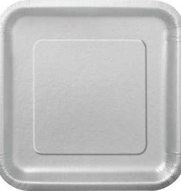 """Silver 7"""" Square Plates, 16ct"""