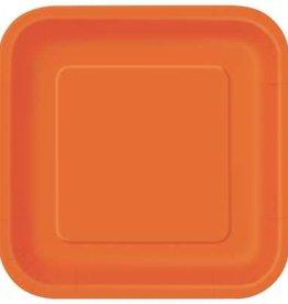 """Pumpkin Orange 7"""" Square Plates, 16ct"""