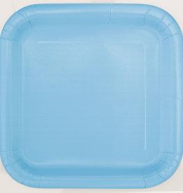 "Powder Blue 7"" Square Plates, 16ct"