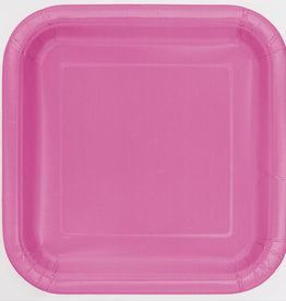 "Hot Pink 7"" Square Plates, 16ct"