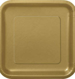 "Gold 7"" Square Plates, 16ct"