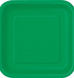 "Emerald Green 7"" Square Plates, 16ct"