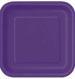 "Deep Purple 7"" Square Plates, 16ct"