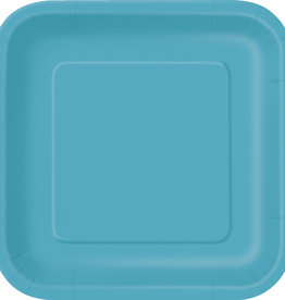 "Caribbean Blue 7"" Square Plates, 16ct"