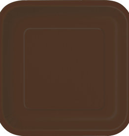 """Brown 7"""" Square Plates, 16ct"""