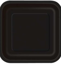 "Black 7"" Square Plates, 16ct"