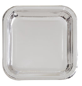 "Metallic Silver 7"" Square Plates, 16ct"