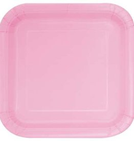 """Lovely Pink 7"""" Square Plates, 16ct"""