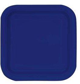 "True Navy Blue 9"" Square Plates, 14ct"