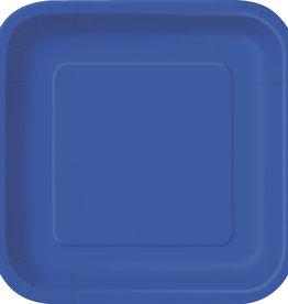 "Royal Blue 7"" Square Plates, 16ct"