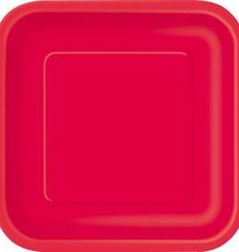 "Red 9"" Square Plates, 14ct"