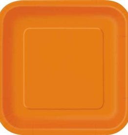 """Pumpkin Orange 9"""" Square Plates, 14ct"""