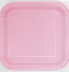 """Lovely Pink 9"""" Square Plates, 14ct"""