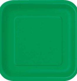 """Emerald Green 9"""" Square Plates, 14ct"""