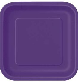 "Deep Purple 9"" Square Plates, 14ct"