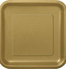 "Gold 9"" Square Plates, 14ct"