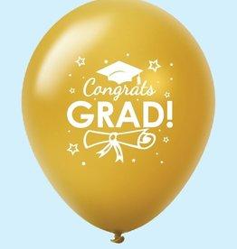 """""""Congrats Grad!"""" School Colours 12"""" Printed Latex Singles"""