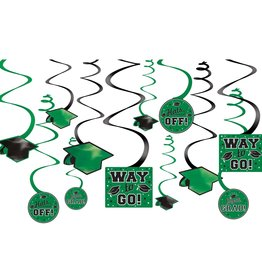 Green Grad Value Pack Swirl Decorations, 12ct
