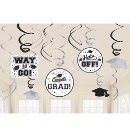 White Grad Value Pack Swirl Decorations, 12ct